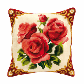 Cross Stitch Kit: Cushion: Red Roses By Vervaco