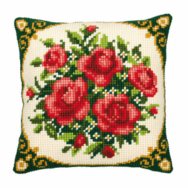 Cross Stitch Kit: Cushion: Pale Red Roses By Vervaco