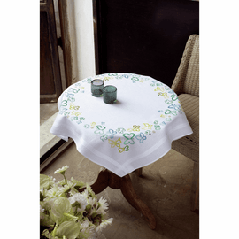 Embroidery Kit: Tablecloth: Butterflies in Green By Vervaco