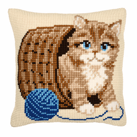 Cross Stitch Kit: Cushion: Kitten and Wool by Vervaco