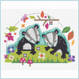 Badger Cross Stitch Kit by Stitching Shed