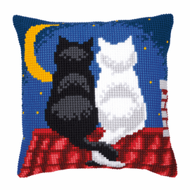 Cross Stitch Kit: Cushion: Roof Top Cats by vervaco