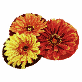 Shaped Flower Latch hook Rug Kit by Vervaco