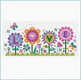 Flowers of Love Cross Stitch Kit by Stitching Shed