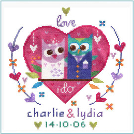Owl Wedding Sampler Cross Stitch Kit by Stitching Shed