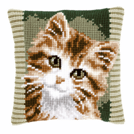Cross Stitch Kit: Cushion: Brown Cat by Vervaco