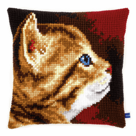 Cross Stitch Kit: Cushion: Looking Kitten by Vervaco