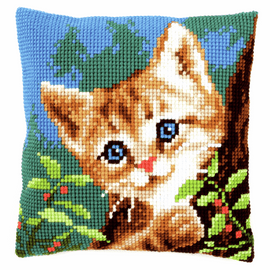Cross Stitch Kit: Cushion: Cat on a Tree by Vervaco