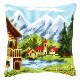 Cross Stitch Kit: Cushion: Alpine Village I By Vervaco