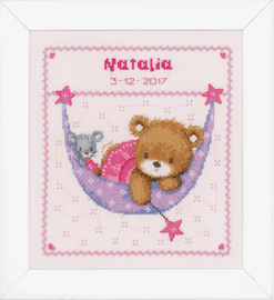Counted Cross Stitch: Birth Record: Little Bear in Hammock (Pink) By Vervaco