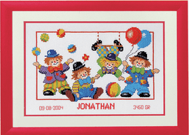 Counted Cross Stitch Kit: Birth Record: Clowns by Vervaco