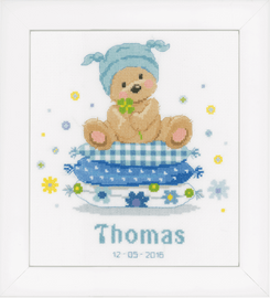 Counted Cross Stitch: Birth Record: Bear On Pillow By Vervaco