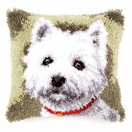 Latch Hook Kit: Cushion: Westie By Vervaco