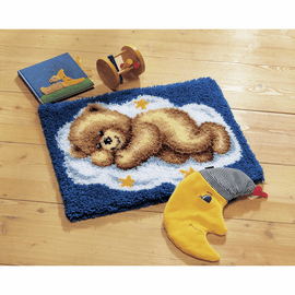 Latch Hook Kit: Rug: Sleeping Teddy on Cloud by Vervaco