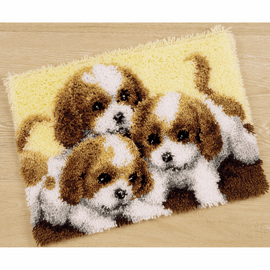 Latch Hook Kit: Rug: Three Puppies By Vervaco