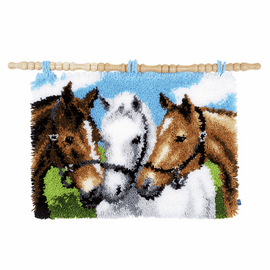 Latch Hook Kit: Rug: 3 Horses by Vervaco