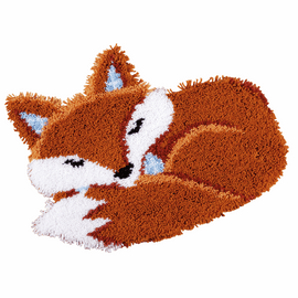 Latch Hook Kit: Shaped Rug: Sleeping Fox by vervaco