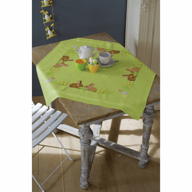Cross Stitch Kit: Tablecloth: Easter Bunnies by vervaco