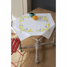 Embroidery Kit: Tablecloth: Spring Flowers By Vervaco