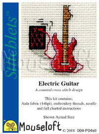 Electric Guitar Cross Stitch kit By Mouseloft