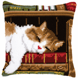 Cross Stitch Kit: Cushion: Cat Sleeping by Vervaco