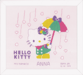 Counted Cross Stitch Kit: Hello Kitty: A Shower of Hearts by Vervaco