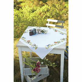 Counted Cross Stitch Kit: Tablecloth: Garden Birds By Vervaco
