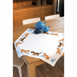 Counted Cross Stitch Kit: Tablecloth: Happy Cats By Vervaco