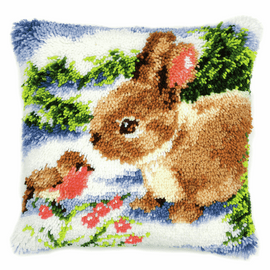 Latch Hook Kit: Cushion: Winter Scene Rabbit and Robin  By Vervaco