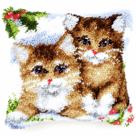 Latch Hook Kit: Cushion: Snow Cats  By Vervaco