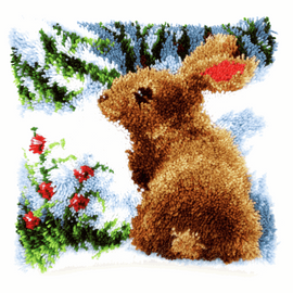 Latch Hook Kit: Cushion: Rabbit in the Snow  By Vervaco