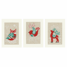 Counted Cross Stitch Kit: Cards: Winter Scenes: Set of 3  By Vervaco