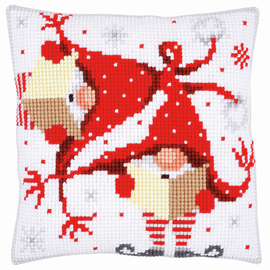 Cross Stitch Kit: Cushion: Christmas Gnomes II By Vervaco