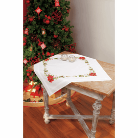 Embroidery Kit: Tablecloth: Poinsettia  By Vervaco