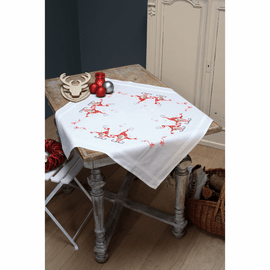Counted Cross Stitch Kit: Tablecloth: Christmas Gnomes By Vervaco