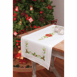 Embroidery Kit: Runner: Poinsettia By Vervaco