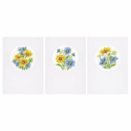 Counted Cross Stitch Kit: Card: Blue & Yellow Flowers: Set of 3 By Vervaco