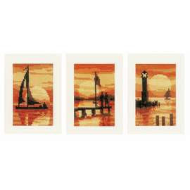 Counted Cross Stitch Kit: Cards: Sunset: Set of 3 By Vervaco