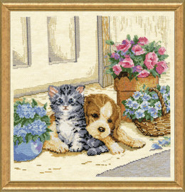 Kitten and Puppy Cross Stitch By Design works