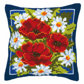 Cross Stitch Kit: Cushion: Poppies (Blue Background) By  Vervaco