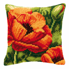 Cross Stitch Kit: Cushion: Poppies 2 By Vervaco