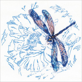 Dance Of Dragonflies-Blue Cross stitch kit by RTO