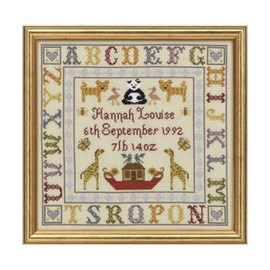 Alphabet Birth cross stitch Sampler By Historical Sampler Company