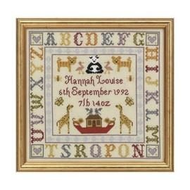 Alphabet Birth cross stitch Sampler By Historical Sampler Company