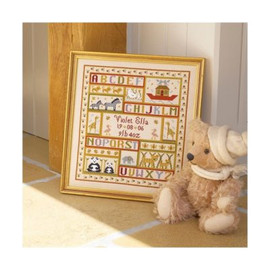 Animal Patchwork Birth cross stitch  By Historical Sampler Company