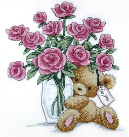 Bear with Roses Cross Stitch Kit By Design Works