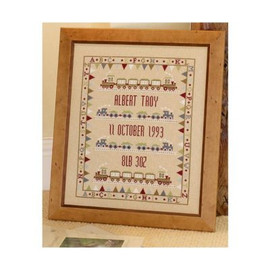 Bunting Train Birth Sampler Cross Stitch By Historical Sampler Company