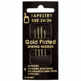 Hand Sewing Needles: Tapestry: Gold Plated: Size 24-26