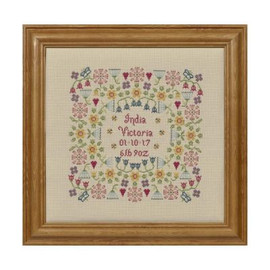 Flower Birth Sampler Cross Stitch