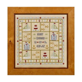 Four Boats Birth Sampler Cross Stitch By Historical Sampler Company